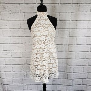 NBD White lacy halter dress mini